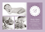 Scalloped Monogram Purple Photo 7x5 Flat Card