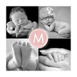 Four Photo Pink Monogram 4.75x4.75 Folded Card