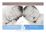 Blue Border Twins 7x5 Flat Card