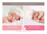 Pink Border Twins 7x5 Flat Card