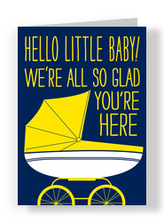 Hello Little Baby 5x7 Folded Card