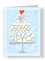 Heart Wedding Cake 5x7 Folded Card