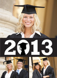 Female Graduate Silhouette Banner 5x7 Folded Card