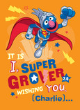 Super Grover Birthday 5x7 Folded Card