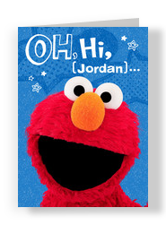 Elmo Big Hi 5x7 Folded Card
