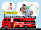 Fire Truck Father 7x5 Folded Card