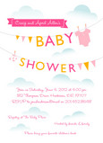 Pink Laundry Line Shower 5x7 Flat Card