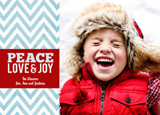 Peace Love and Joy 7x5 Flat Card