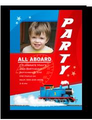 All Aboard Thomas Birthday Invitation 5x7 Flat Card