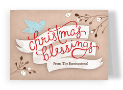 Bird Christmas Blessings 7x5 Folded Card