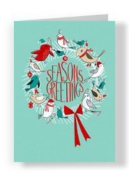 Bird Wreath Greetings 5x7 Folded Card