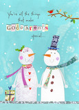 Special Snowmen Godparents 5x7 Folded Card