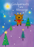 Reindeer Godparents Blessings 5x7 Folded Card