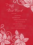 Poinsettia Christmas Wife 5x7 Folded Card