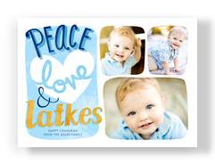 Peace Love Latkes 7x5 Flat Card