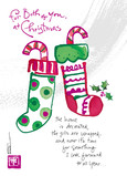 Two Christmas Stockings 5x7 Folded Card
