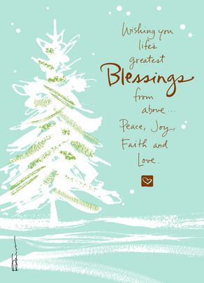 Snowy Tree Blessings 5x7 Folded Card