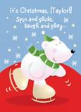 Polar Bear Skating 5x7 Folded Card