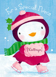 Christmas Scene Penguin 5x7 Folded Card