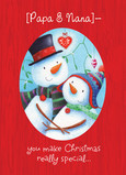 Snowmen Couple 5x7 Folded Card