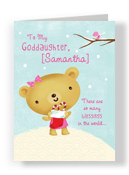 Goddaughter Snow Bear 5x7 Folded Card