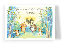 Hanukkah Animals 7x5 Folded Card