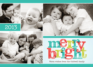 Merry Bright Photo Collage 7x5 Flat Card
