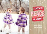 Love Peace and Joy Woodgrain 7x5 Flat Card