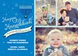 Blue Hanukkah Menorah 7x5 Flat Card