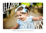 White Happy Holidays 7x5 Flat Card