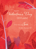 Proud Valentine Son 5x7 Folded Card