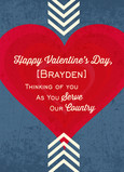 Patriotic Valentine Serving 5x7 Folded Card