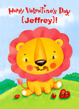 Cheery Valentine Lion 5x7 Folded Card