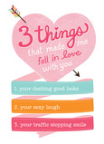 Three Things Love 5x7 Folded Card