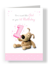 First Birthday Girl 5x7 Folded Card