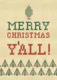 Needlepoint Yall Christmas 5x7 Folded Card