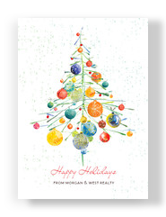 Ornaments Christmas Tree 5x7 Flat Card