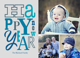 Script New Year Photos 7x5 Flat Card