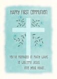 Blue First Communion 5x7 Folded Card