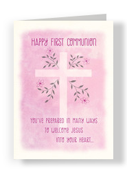 Pink First Communion 5x7 Folded Card