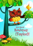 Owl Birthday 5x7 Folded Card