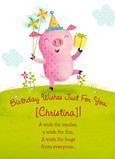Happy Pig Birthday 5x7 Folded Card