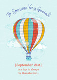 Hot Air Balloon Birthday 5x7 Folded Card