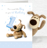First Birthday Boy Card and Plush 5x7 Folded Card