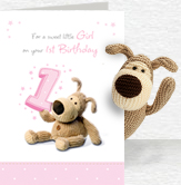First Birthday Girl Card and Plush 5x7 Folded Card