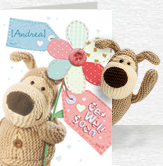 Boofle Flower Get Well Card and Plush 5x7 Folded Card