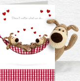 Boofle Love Hammock Card and Plush 5x7 Folded Card