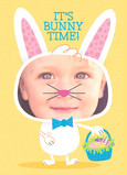 Yellow Bunny Time 5x7 Folded Card