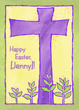 Purple Easter Cross 5x7 Folded Card