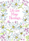 Flowery Birthday Blessings 5x7 Folded Card